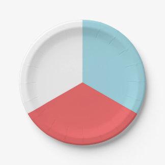 Prato De Papel Quarto da placa de papel azul branca vermelha de