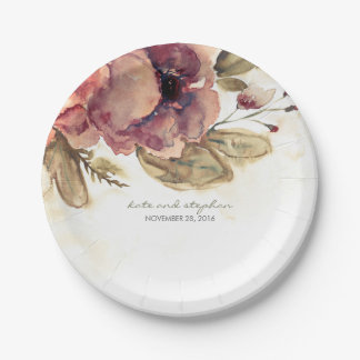 Prato De Papel Queda do vintage das flores da aguarela de