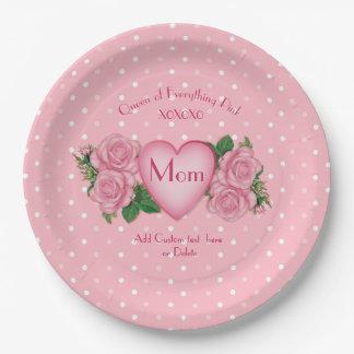 Prato De Papel Rainha de tudo mamã do rosa