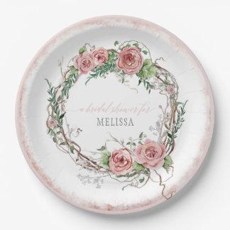 Prato De Papel Ramo cor-de-rosa da grinalda rústica do chá de