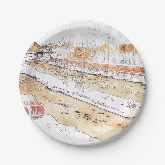 Prato De Papel Rampa nevado da madeira do canal