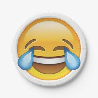 Prato De Papel Rasgos de grito de riso do emoji da alegria