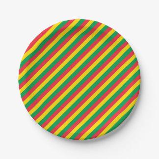 Prato De Papel Rasta colore o teste padrão vermelho amarelo verde