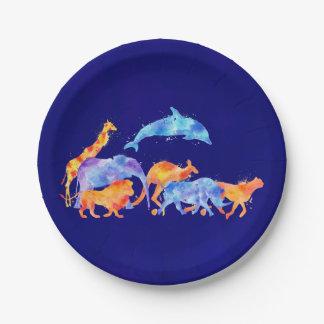 Prato De Papel Rebanho de animais selvagens no fundo do azul