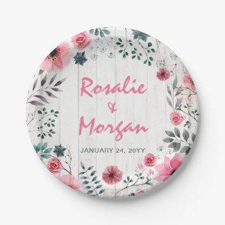Prato De Papel Recepção de casamento cor-de-rosa floral de