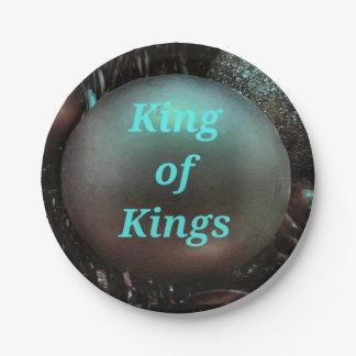 Prato De Papel Rei azul Brassy dos reis Circular Bola