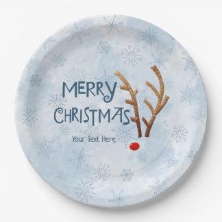 Prato De Papel Rena com o nariz vermelho abstrata, Feliz Natal