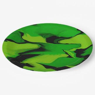 Prato De Papel Respingo verde e preto surpreendente