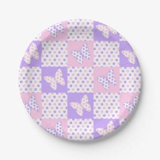 Prato De Papel Retalhos cor-de-rosa roxos das bolinhas da