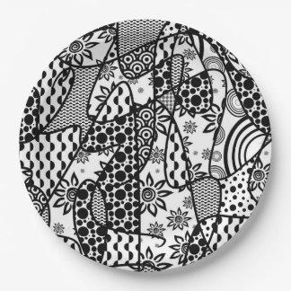 Prato De Papel Retalhos pretos & brancos 03 do teste padrão