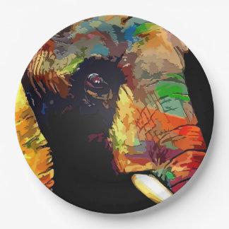 Prato De Papel Retrato colorido corajoso da cabeça do elefante