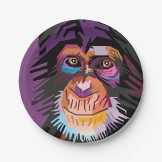 Prato De Papel Retrato colorido do macaco do pop art