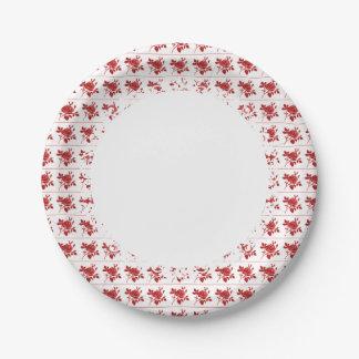 Prato De Papel Retro-Diário-Vermelho-Rosa-Papel-Placas--S-L