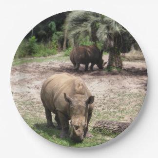 Prato De Papel Rhinos na placa de papel do safari