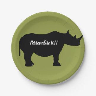 Prato De Papel Rinoceronte da silhueta