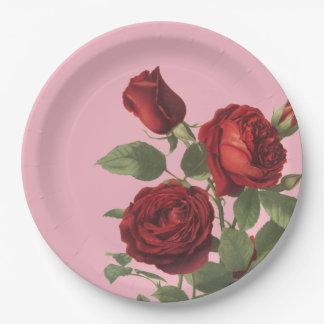 Prato De Papel Rosa com o conjunto de rosas vermelhos escuro