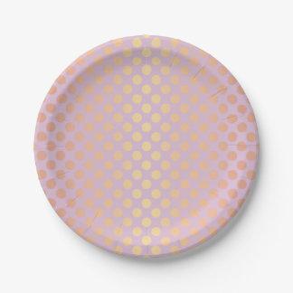 Prato De Papel Rosa cor-de-rosa do teste padrão de bolinhas do