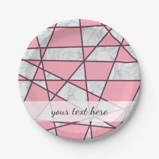 Prato De Papel rosa pastel e vermelho de mármore brancos