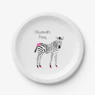 Prato De Papel Rosa quente bonito e zebra feminino preta com nome