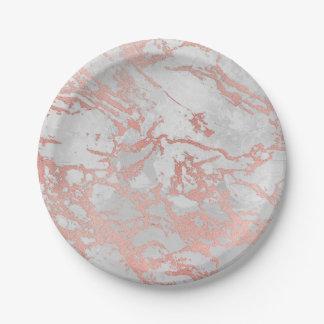 Prato De Papel Rosa sujo do mármore cinzento branco mínimo do