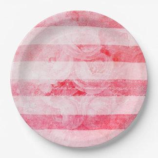 Prato De Papel Rosa velho cor-de-rosa romântico rústico