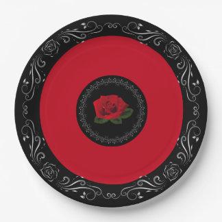 """Prato De Papel Rosa vermelha da senhorita América 9"""" placas de"""