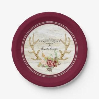 Prato De Papel Rosa vermelha do Antler dos cervos de Boho do chá