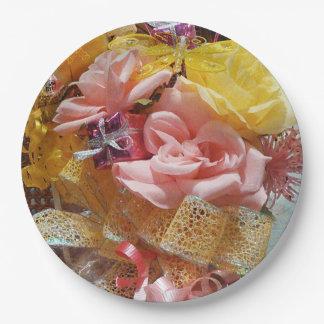 Prato De Papel Rosas cor-de-rosa da primavera & placas de papel