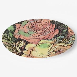 Prato De Papel Rosas maravilhosos