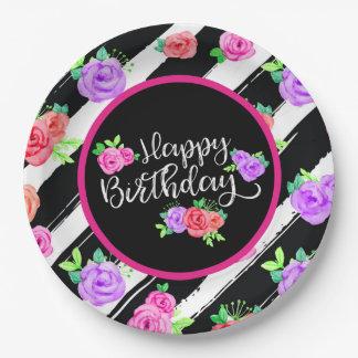 Prato De Papel Rosas nervosos & festa de aniversário feliz das