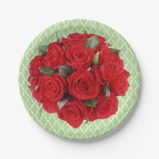 Prato De Papel Rosas vermelhas do buquê e teste padrão da