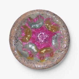 Prato De Papel Rosquinha de vidro do bolo da jóia do rosa da bola