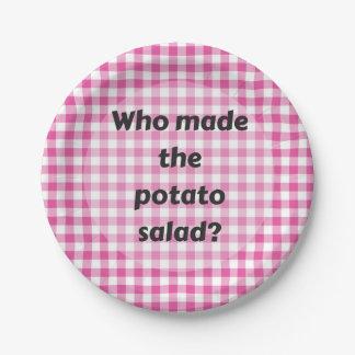 Prato De Papel Salada de batata da placa de papel do partido do