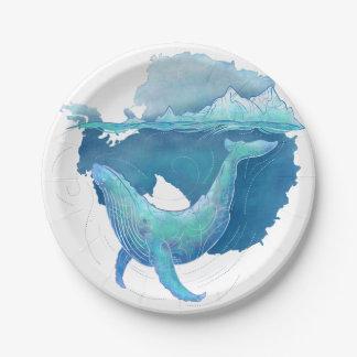 Prato De Papel Santuário da baleia do oceano do sul