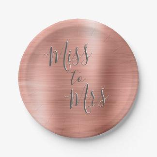Prato De Papel Senhorita à Sra. rosa cor-de-rosa do ouro do