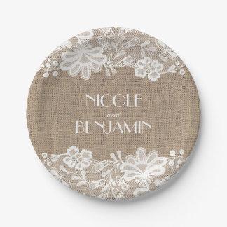 Prato De Papel Serapilheira e casamento elegante floral do laço