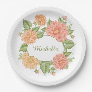 Prato De Papel Seu nome nas placas de papel de um quadro da flor