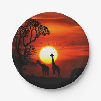 Prato De Papel Silhuetas africanas do animal do por do sol do
