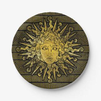 Prato De Papel Símbolo de Apollo Sun no teste padrão chave grego