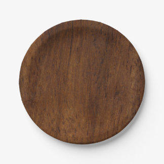 Prato De Papel Simples elegante de madeira escuro