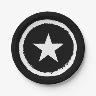 Prato De Papel Sinal branco do símbolo da estrela da guerra