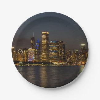 Prato De Papel Skyline Chicago Pano da noite