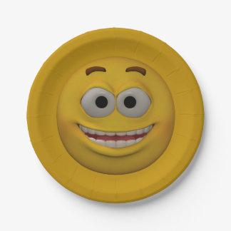 Prato De Papel smiley 3 do estilo 3D
