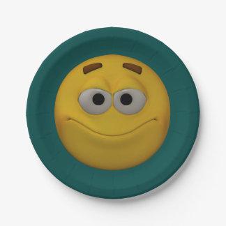 Prato De Papel smiley do estilo 3D