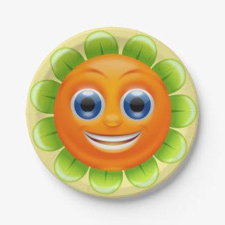 Prato De Papel Smiley face redondo da flor personalizado