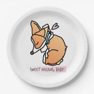 Prato De Papel sonhos doces, bebê do corgi. placa de papel