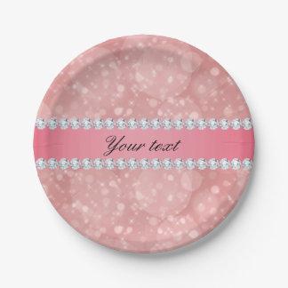 Prato De Papel Sparkles cor-de-rosa e diamantes de Bokeh