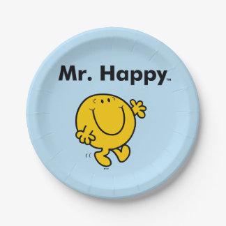 Prato De Papel Sr. Feliz Ser Sempre Feliz do Sr. Homem |