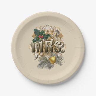 Prato De Papel Sra. Primeiro Natal
