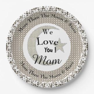 Prato De Papel Stylish-Mother's-Day-Moon-Silver_Monogram-Birthday